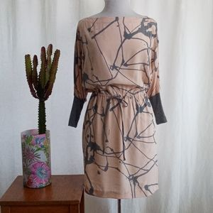 Robert Rodriguez peach and gray silk midi dress